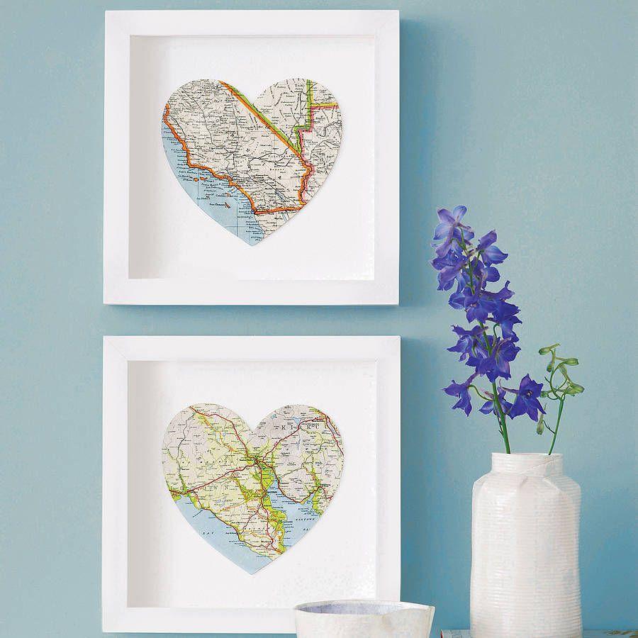 Personalised Map Location Heart Wedding Print Gift  Bespoke