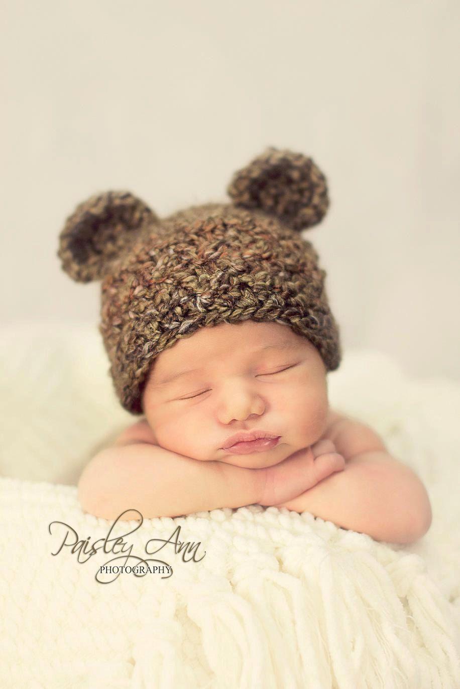 Teddy Bear Crochet Baby Hat  - Crochet Photography Prop - Brown - Size Newborn, 0-3 mos, 3-6 mos, 6-12 mos. $28.50, via Etsy.