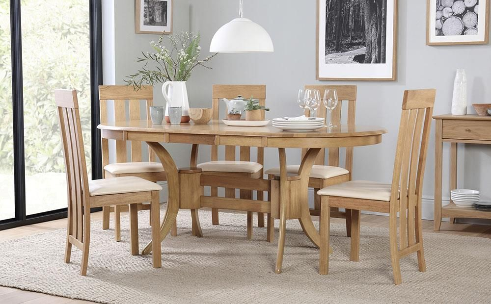 Canterbury Oak Oval Extending Dining Table - Dining room ideas