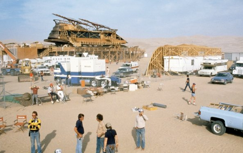 On the set ofStar Wars: Return of the Jedi, directed by Richard Marquand, 1982.