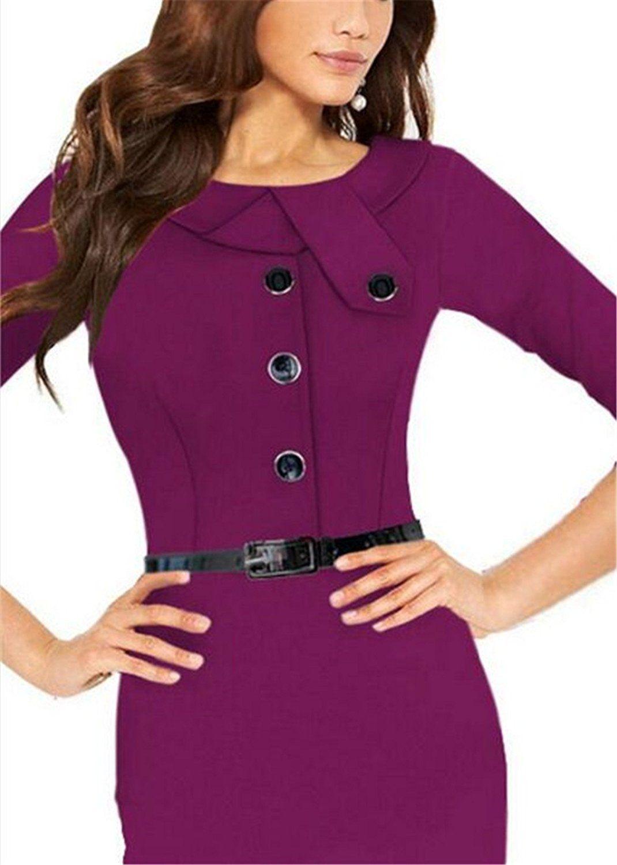 Aimur Women's 1950s Retro Long Sleeve Cocktail Party Work Pencil Dress Purple >>> Additional info  : Women clothing