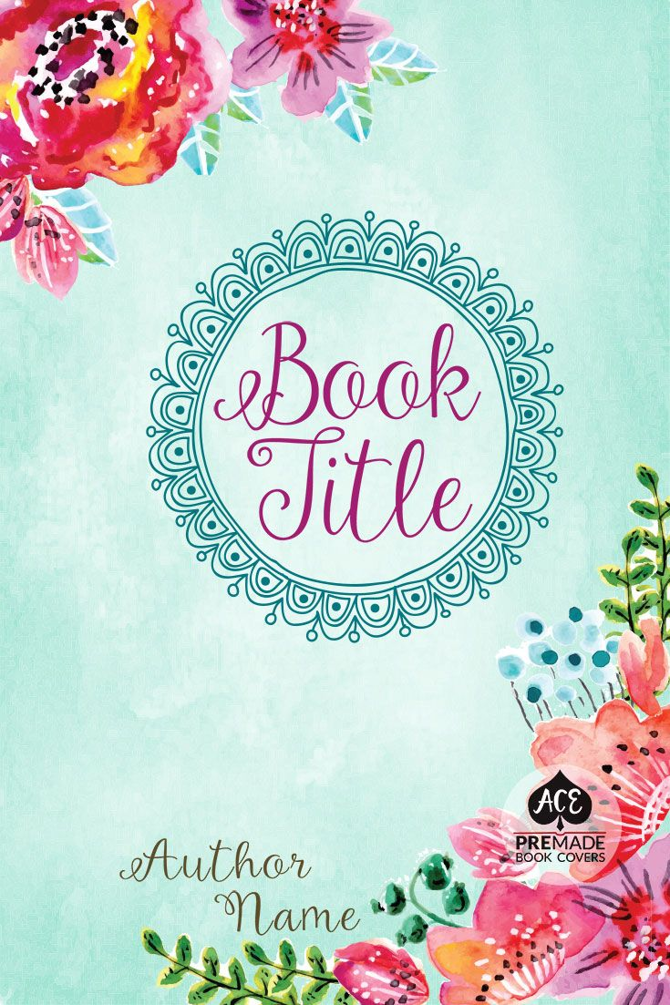 Premade Book Cover Multi Genre Watercolor Floral Border Blue