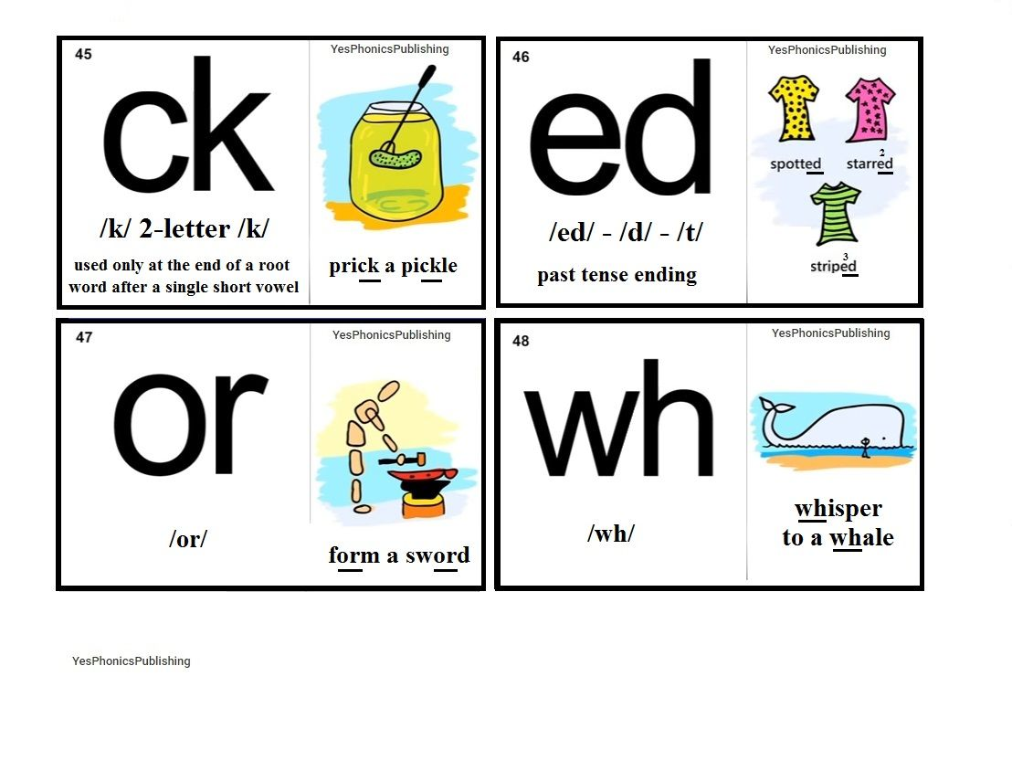 Orton Spalding Phonograms Illustrated Flash Cards Ck Ed Or Wh Phonics For Kids Phonics Words Phonics Sounds [ 856 x 1108 Pixel ]