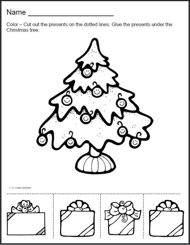 Christmas tree sheet to color cut and paste | crafts | Pinterest ...
