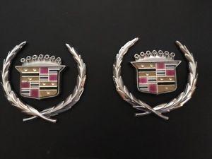 Cadillac Deville Roof Pillar Crest Emblems Pair Chrome Ebay