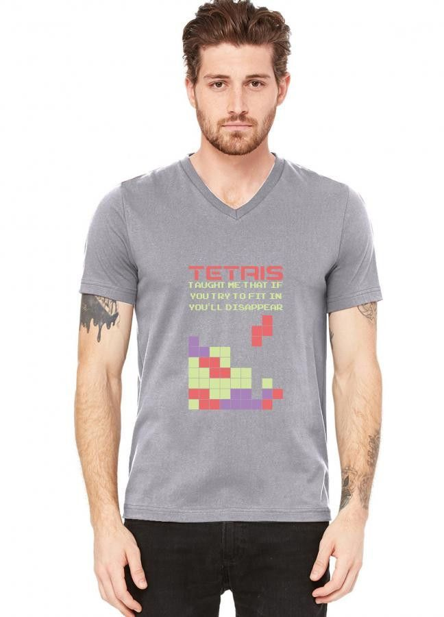 tetris taught me that if you try to fit in you ll disappear funny V-Neck Tee