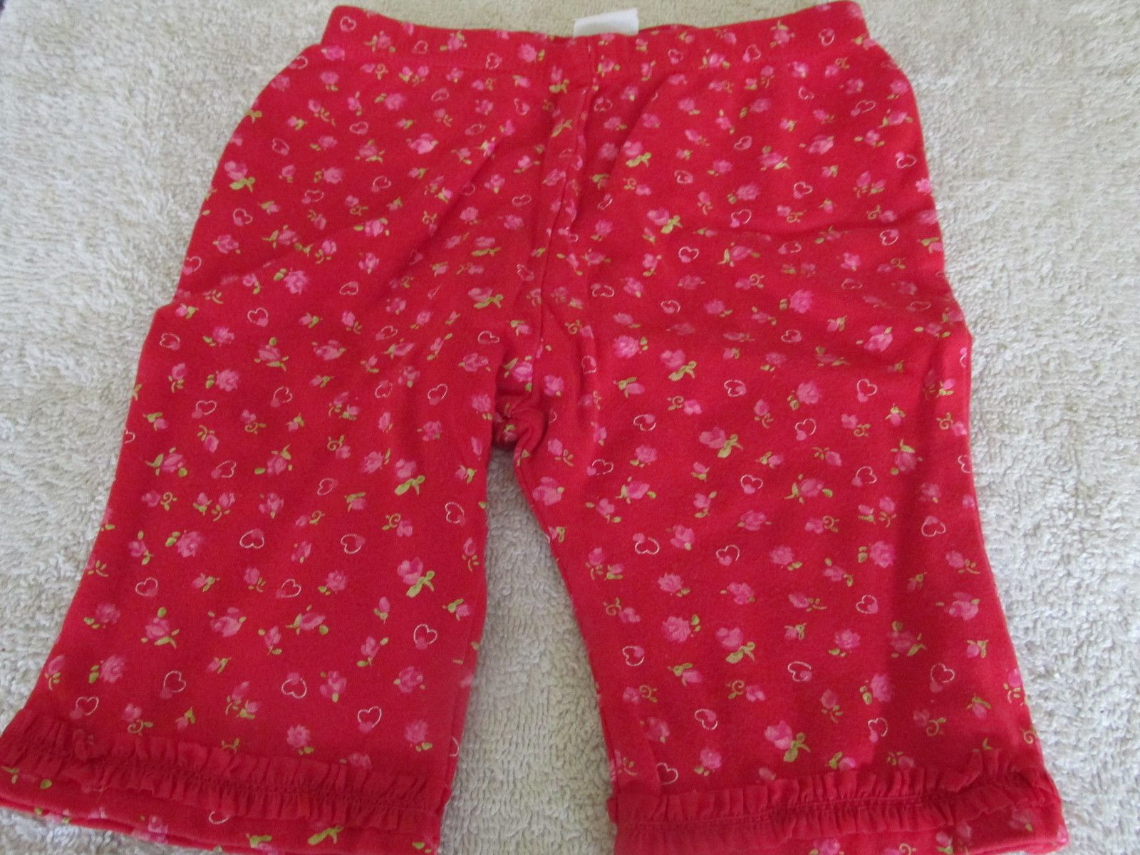 Okie Dokie Baby Pants Red W Hearts And Flowers 0 3 Mos