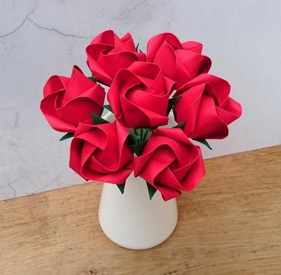 Photo of Red origami paper roses bouquet, Mother's Day gift, Valentine's Day paper flowers, 1st wedding anniversary gift for her