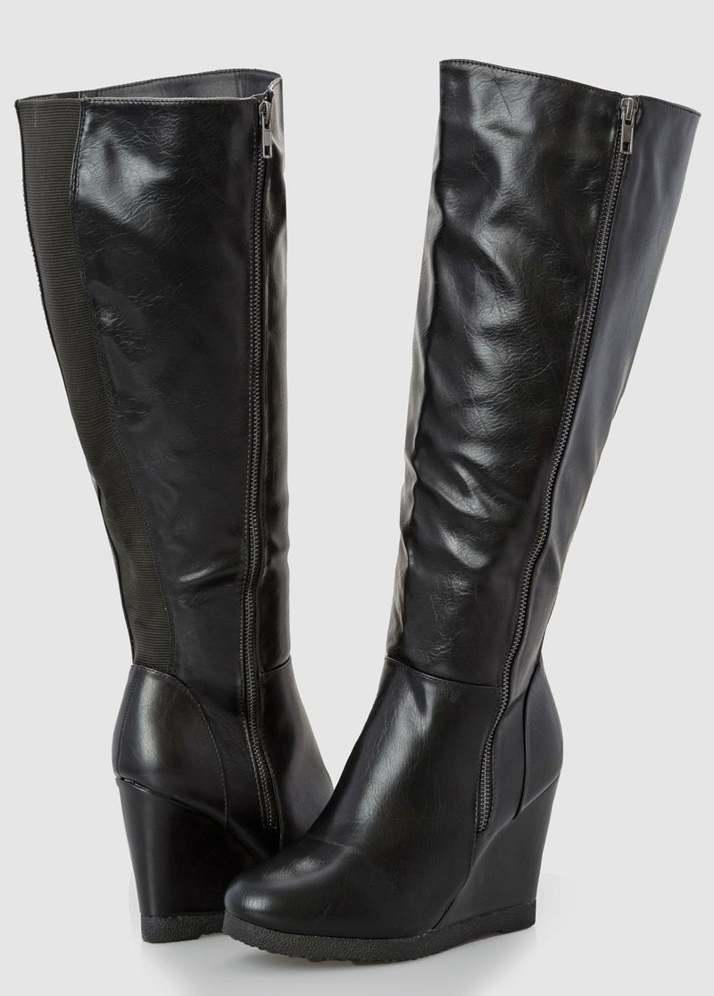 Wide Width Wide Calf Side Zip Wedge Tall Boot $79.50 | Plus Size ...