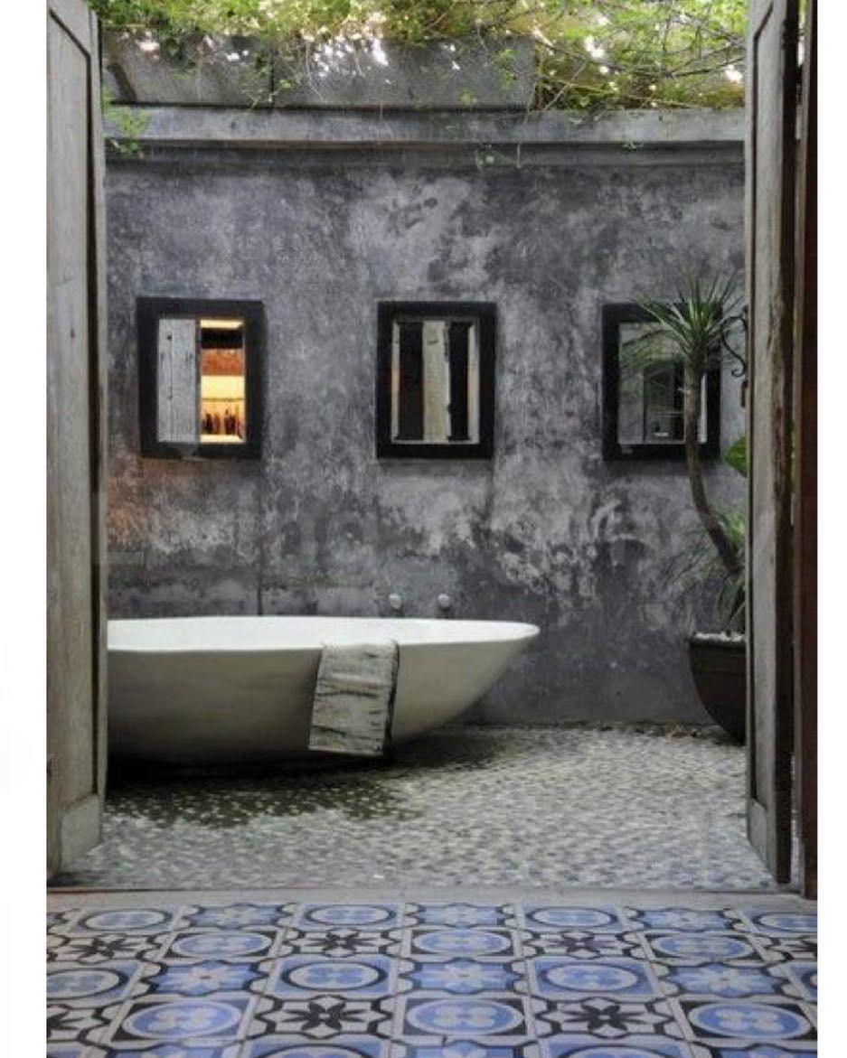 Bathroom Outdoor: Via @decorum_interior_design: Rustic Encaustic Tiles And