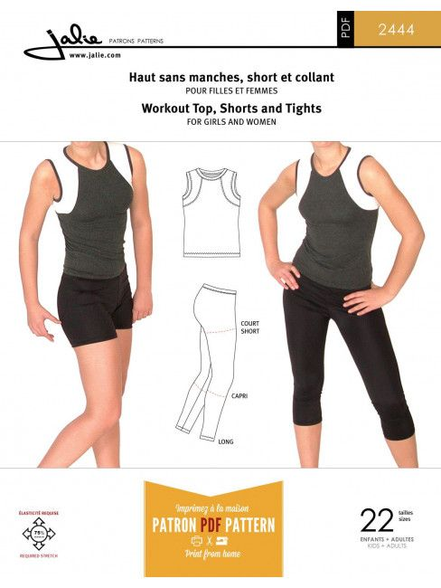 Jalie 2444 - Workout top, shorts and tights for girls and women ...