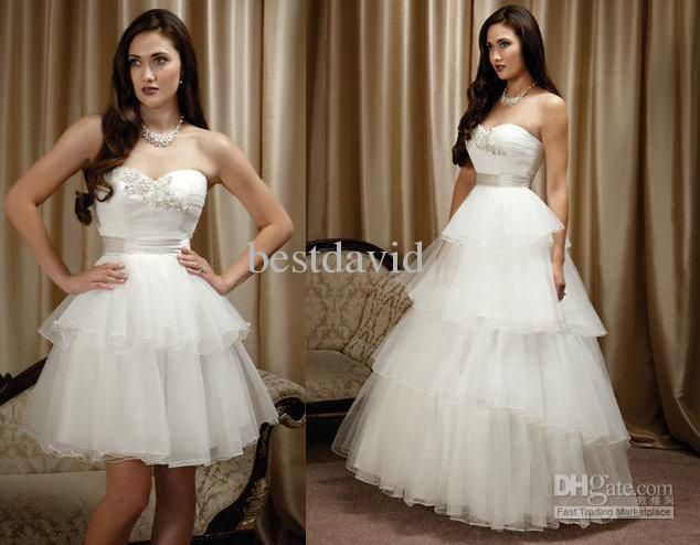 cheap two piece detachable skirt wedding dress ball gown strapless tiered layered tulle beaded m1204