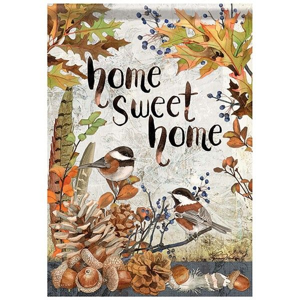 Autumn Garden Flag Sweet Chickadees ❤ liked on Polyvore featuring ...