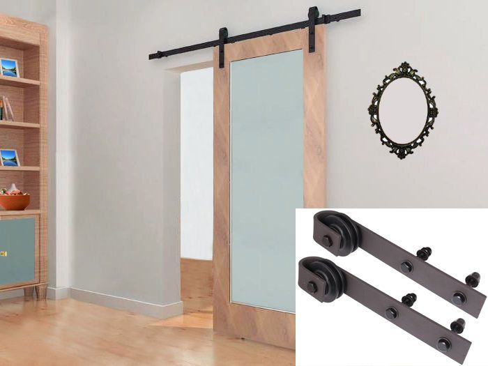 6.6Ft Dark Coffee Rustic Steel Sliding Barn Wood Door Hardware Track Set  Kit In Home U0026 Garden, Home Improvement, Building U0026 Hardware | EBay