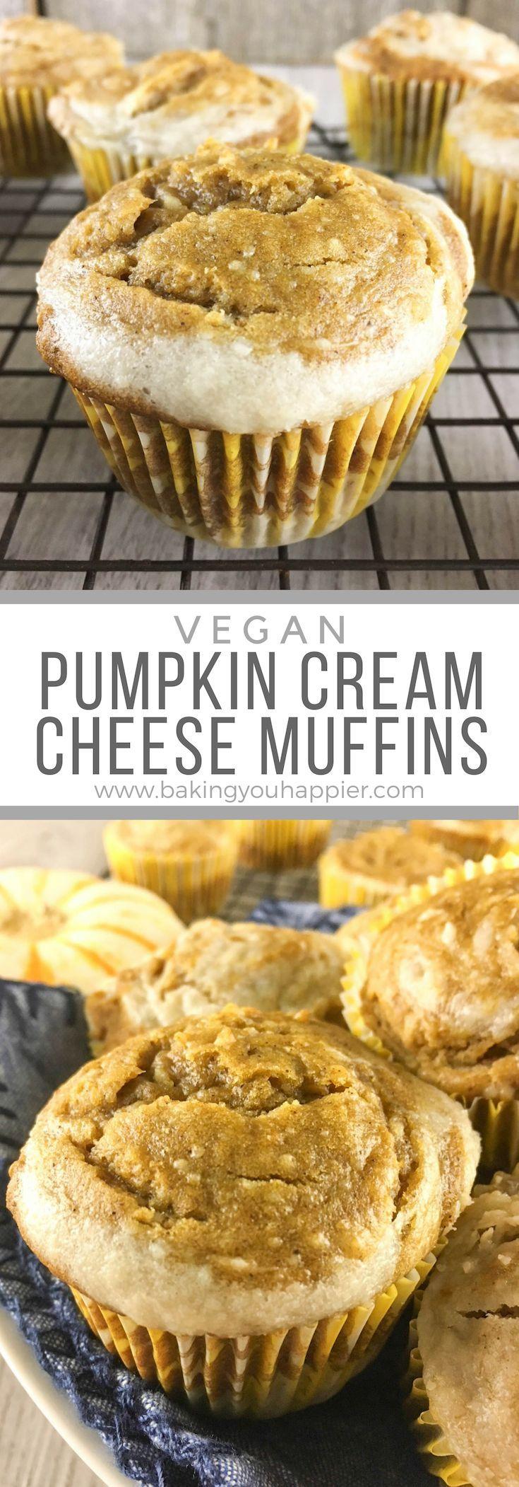 Vegan Pumpkin Cream Cheese Muffins #creamcheeserecipes