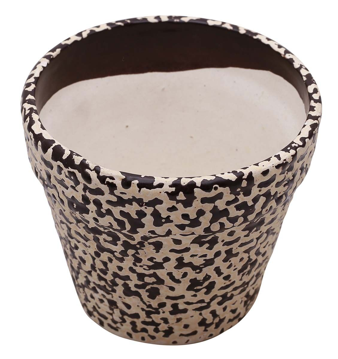 Bulk Wholesale Hand Painted Beige Dark Brown Ceramic Planter