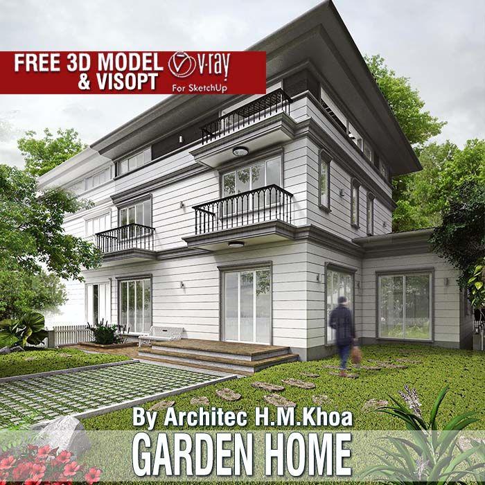 Modern Residential Exterior By Ar Sagar Morkhade: SketchUp Free 3D Models