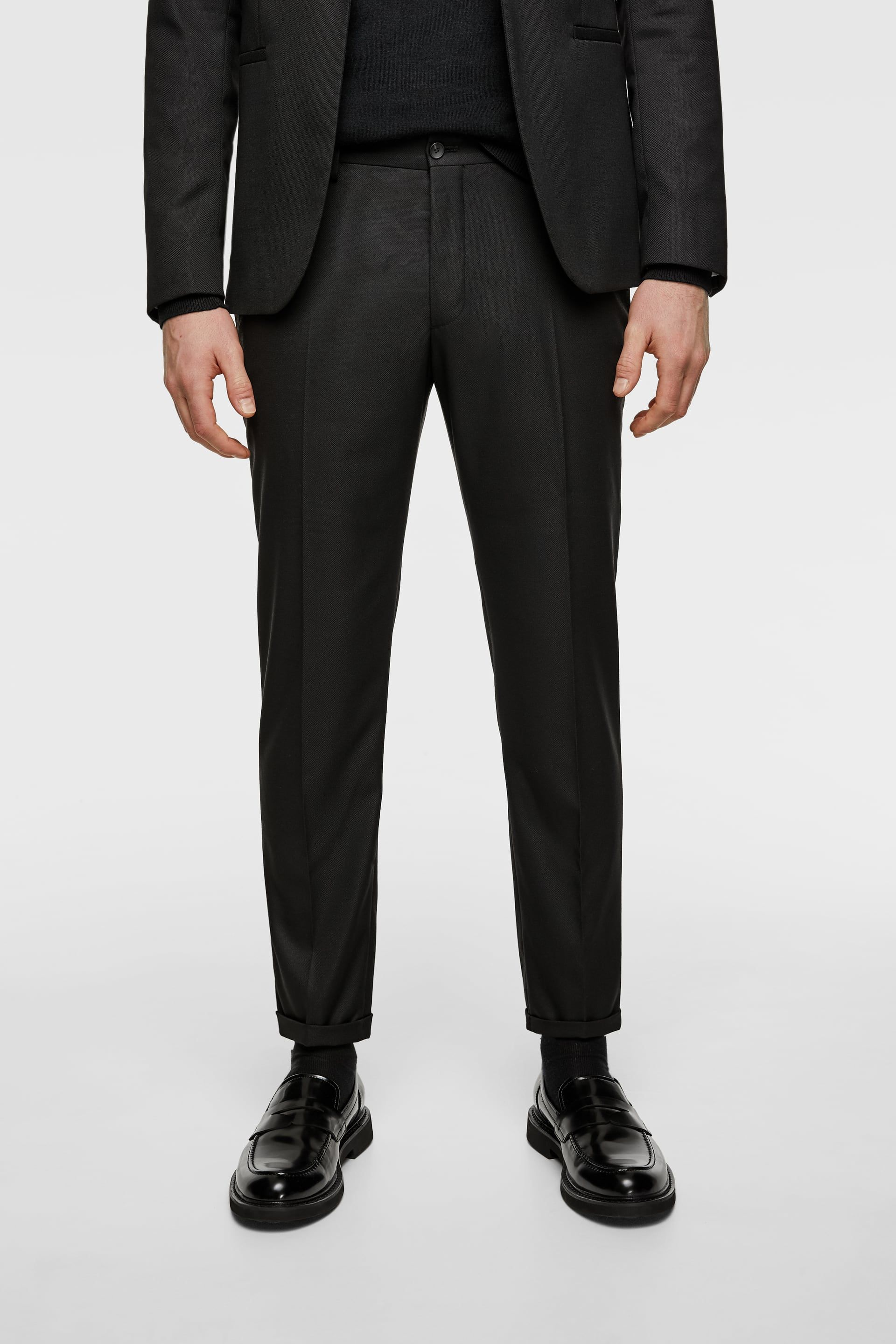 7901671b Textured cropped suit trousers in 2019 | Fits | Trouser suits ...