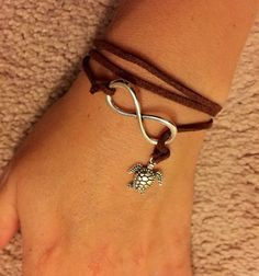 Photo of Simple, infinite, nautical leather bracelet, turtle bracelet, leather bracelet …