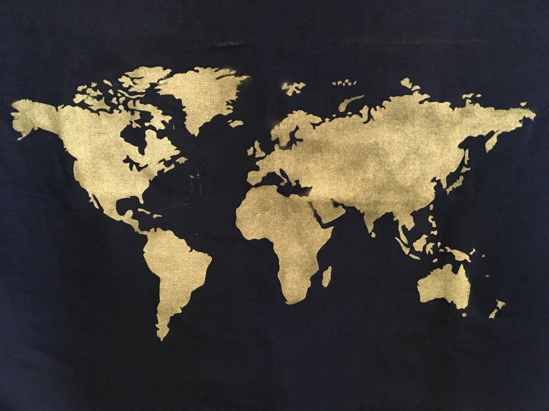 World Map Tapestry Diy Pochoir Silhouette Carte Du Monde Pochoir