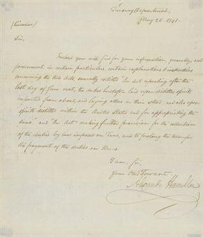 HAMILTON Alexander 1757 1804 Circular letter signed Alexander