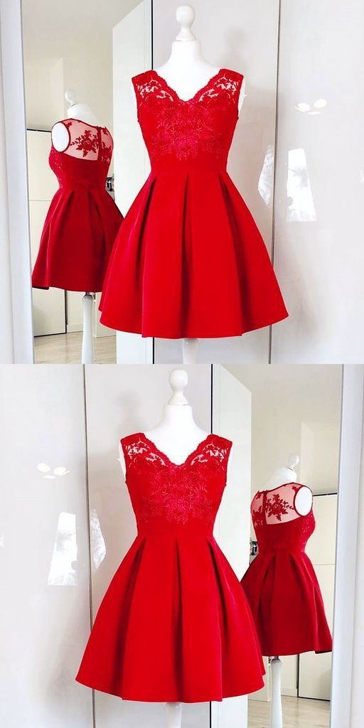 A-Line V-Neck Red Satin Short Homecoming Dress With Lace ...