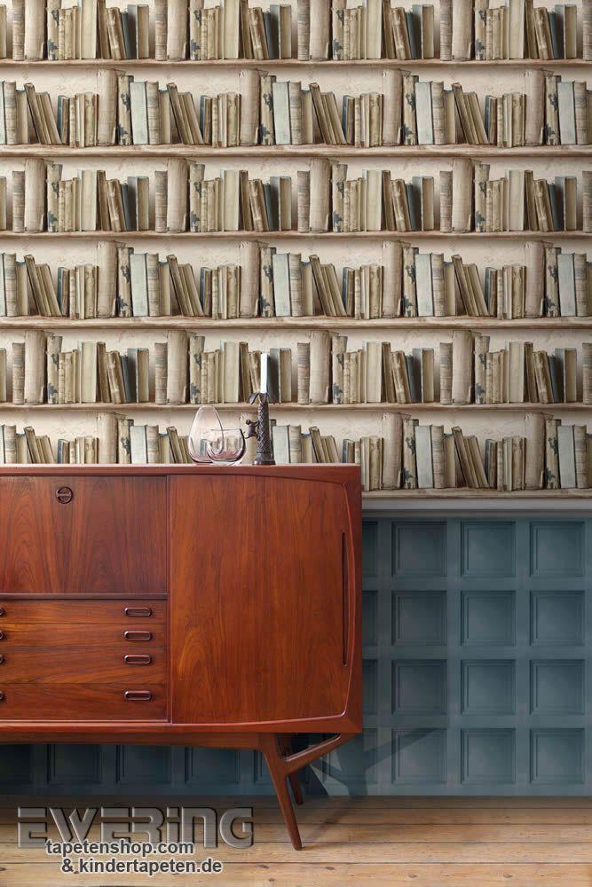 Tapete Bücherregal splendour 06 wandkassetten in grau blau und eine tapete mit
