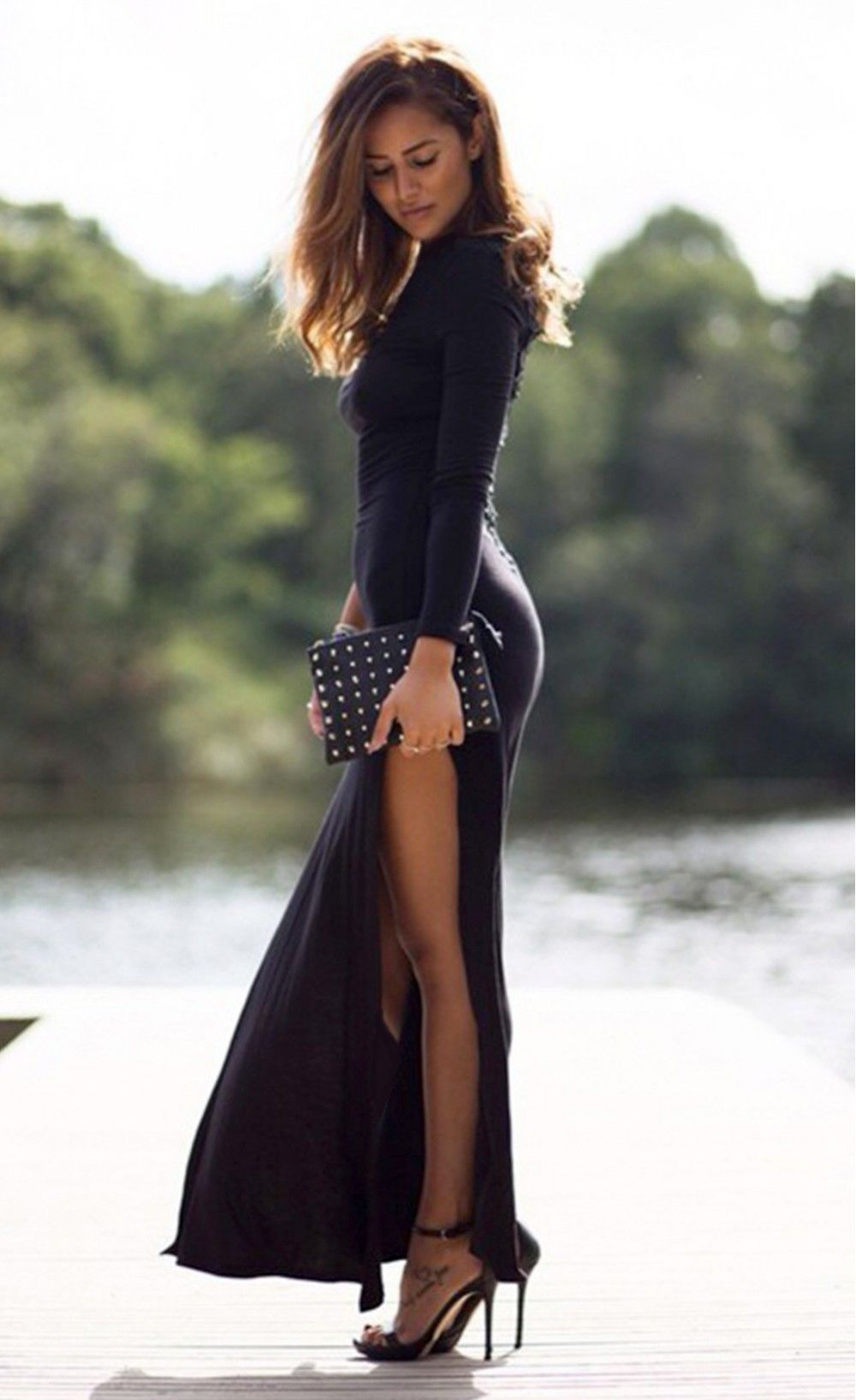 Long sleeves side split slit jesery maxi dress my looking for