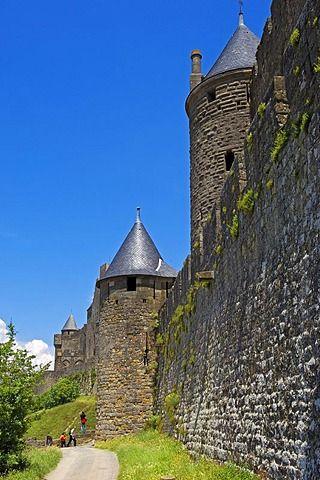 La Cite, ciudad fortificada medieval, Carcassonne, Aude, Languedoc-Roussillon, Francia, Europa
