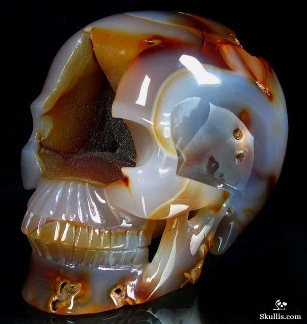 Agate Crystal Geode Skull