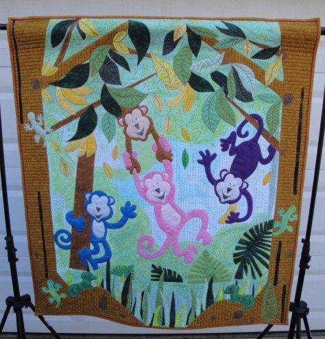 Monkey Business Applique Wallhanging Quilt Pattern by 10WestQuilts ... : monkey business quilt pattern - Adamdwight.com