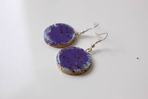 Martinuska / Fialové korkové/cork earrings