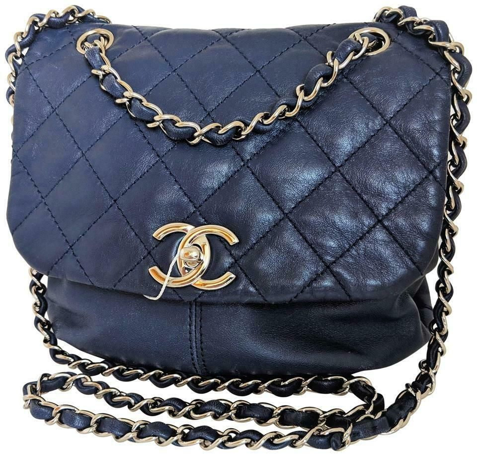 76b6eb4584d3 CHANEL Blue Shiny Lambskin Quilted Small Trianon Flap Messenger Crossbody  Bag