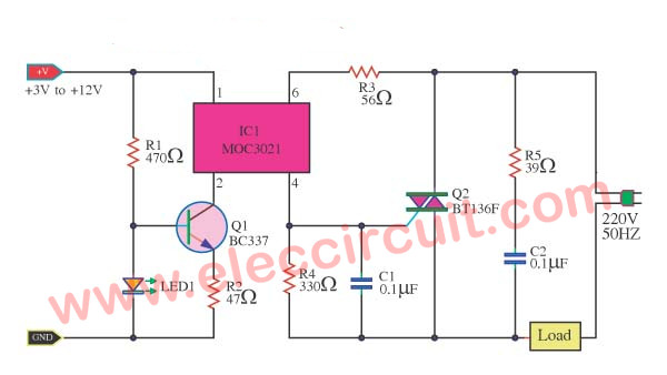 Solid State Relay Circuit Eleccircuit Com Electronics Projects Electronic Circuit Projects Arduino