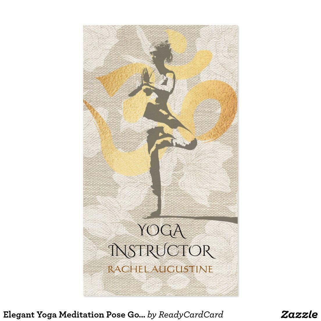 Elegant Yoga Meditation Pose Gold Foil Om Symbol Business