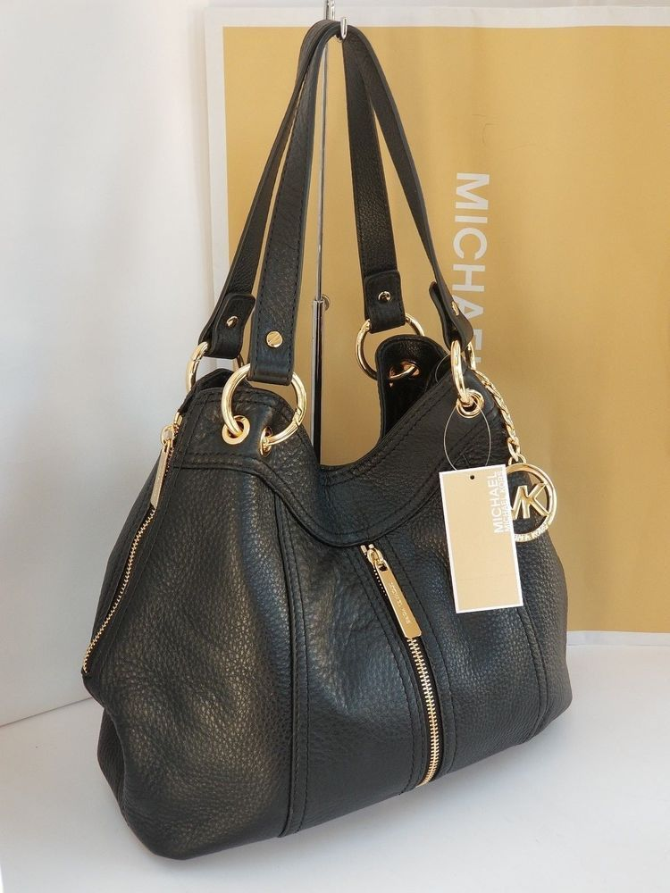 1f3e950bd93d NWT Michael Kors Moxley MD Shoulder Tote Black Leather #MichaelKors  #TotesShoppers