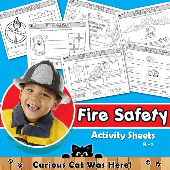 Fire Safety from Curious Cat Was Here! on TeachersNotebook.com -  (6 pages)  - Fire safety activity sheets for kindergarten.