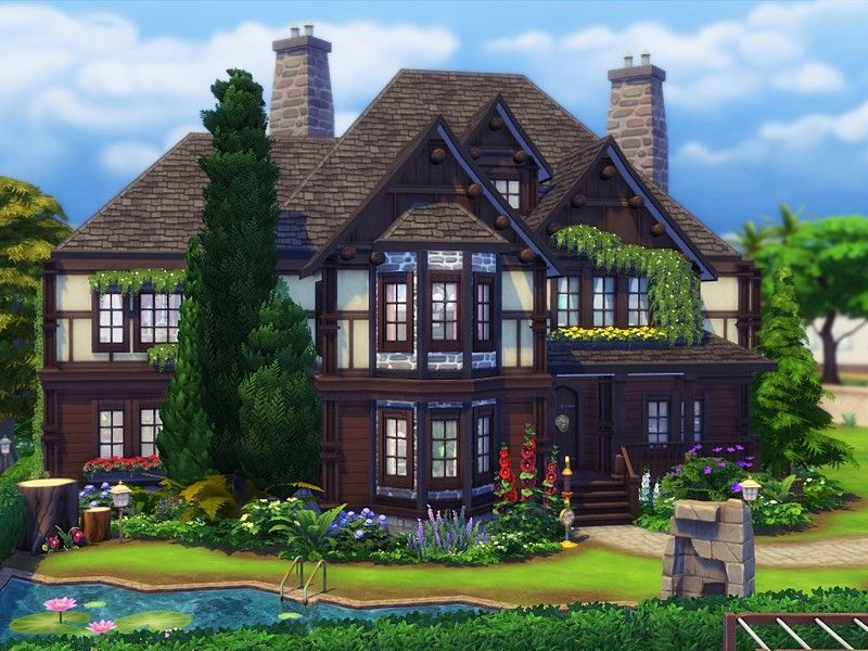 Tudor Farmhouse Is A Charming House In Tudor Style Built On 40x30 Lot In Newcrest Found In Tsr Category Sims 4 R Sims House Sims 4 House Design Sims 4 Houses