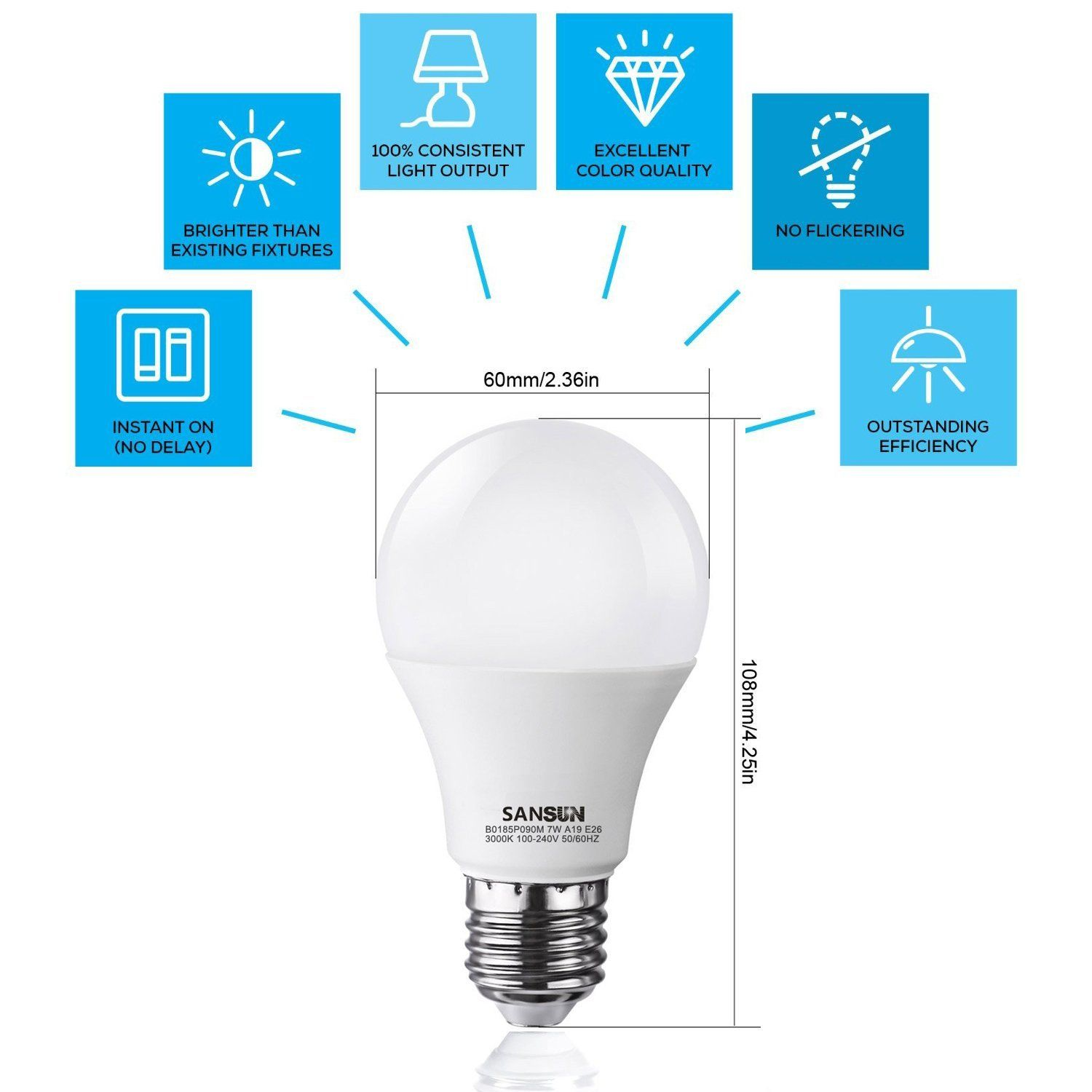 A19 Led Light Bulbs 60 Watt Equivalent Sansun 3000k Soft White E26 Socket Ul Listed Led Globe Bulbs Pack Of 6 Led Light Bulbs Globe Bulbs Light Bulbs