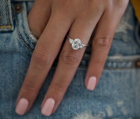 1.83 Carat Diamond Engagement Ring, 14k White Gold Diamond Ring, Oval Diamond Ring , Diamond Ring,Unique Ring,Big Diamond Ring,Free Shipping