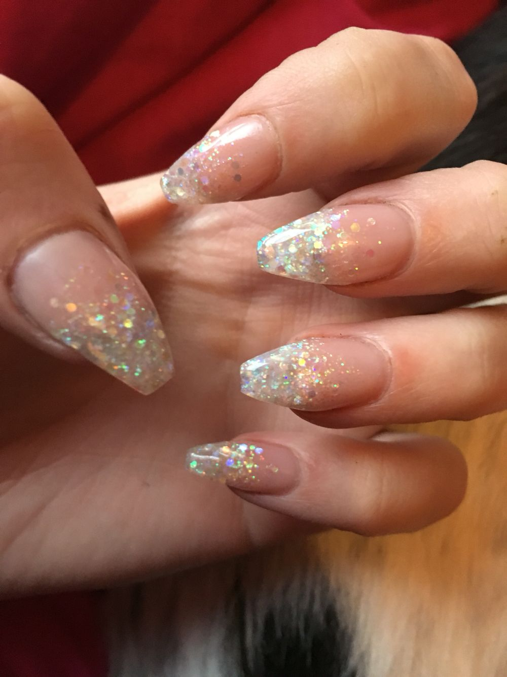Nude nails with white glitter fade #glitterfade #coffinnails #nude ...