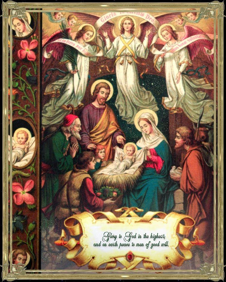 Holy Family Admires Jesus Nativity Religious Christmas: Catholic Activities: Free Printable Nativity Scenes And