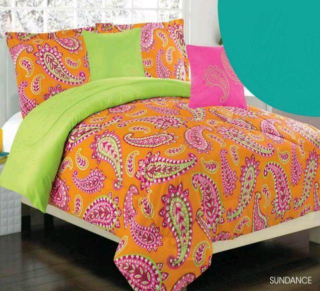 girls twin comforter set teen kids bedding sundance orange green pink paisley bedinabag