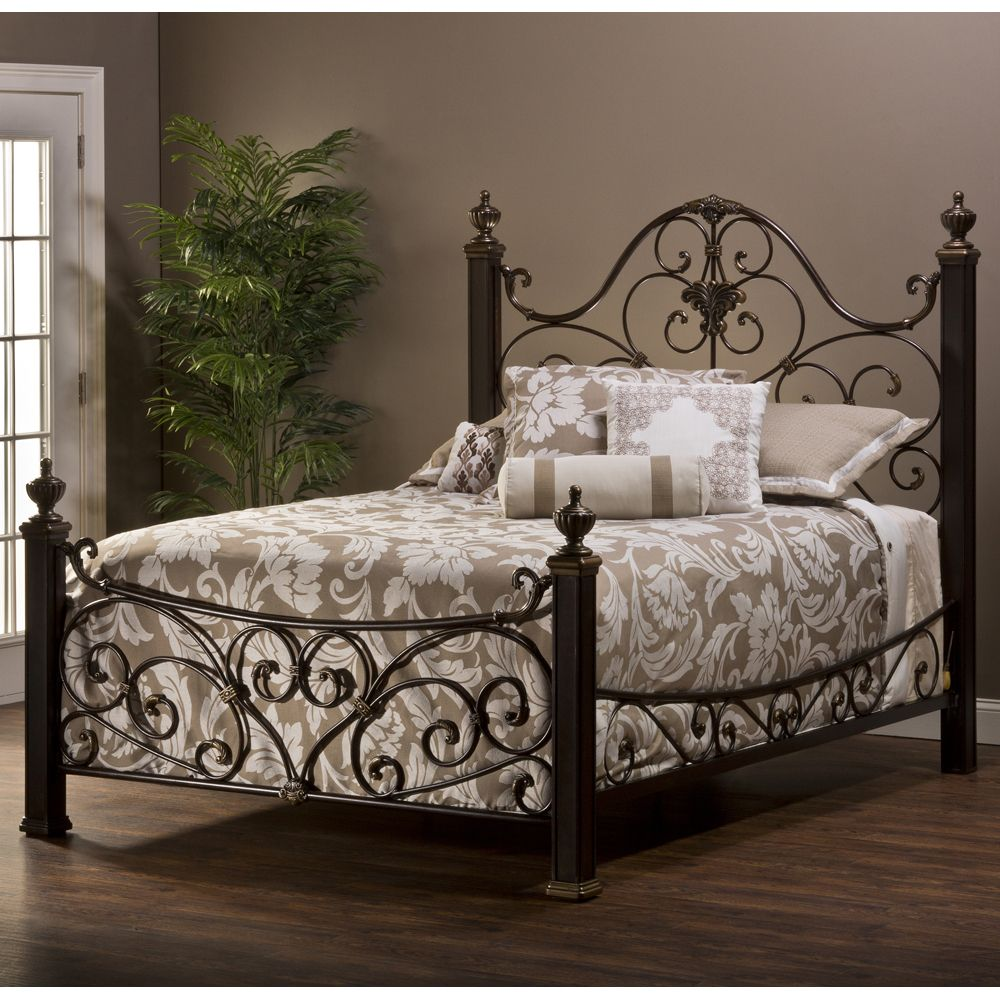 Best Mikelson Mixed Wood Iron Bed By Hillsdale Furniture 640 x 480