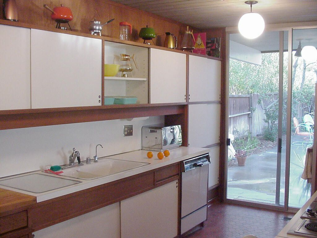 Best Eichler Kitchen With Square Edge Formica White Laminate 640 x 480