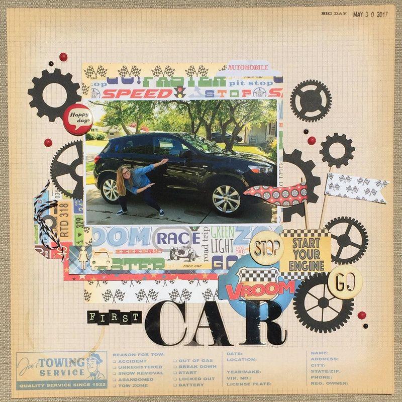 First+Car Scrapbook Layout - Scrapbook.com Used Carta Bella Cartopia ...