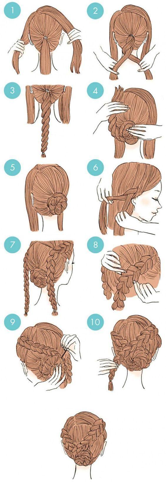 Instrucciones simples de peinado trenzado. Cortar una sección de cabello en la parte frontal de la cabeza …