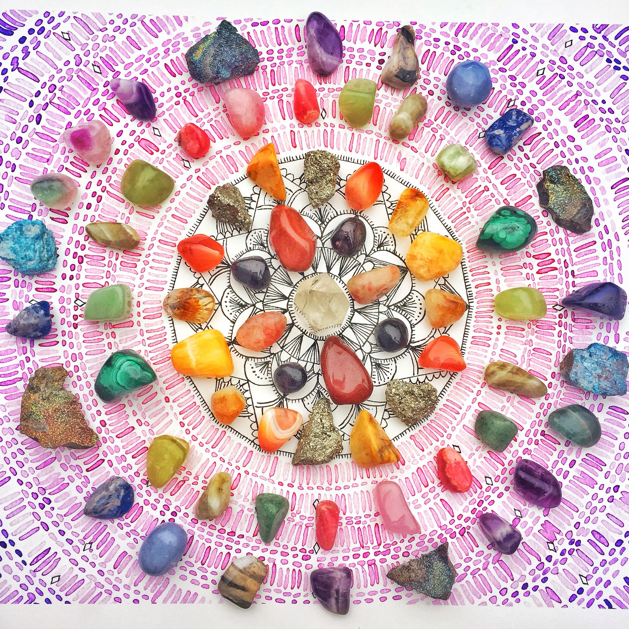 When is rains, look for rainbows. When it's dark, look for the stars. Create a rainbow crystal grid to brighten your day!