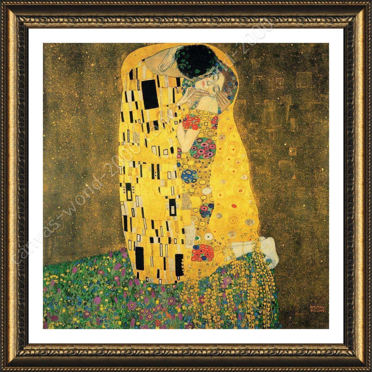 Poster The Kiss Gustav Klimt Oil Painting Print Framed Decor For Bedroom