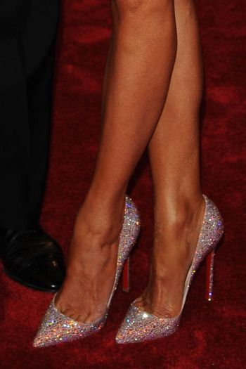 Details of Melania Trump's Christian Louboutin shoes at the 2012 Met Gala.